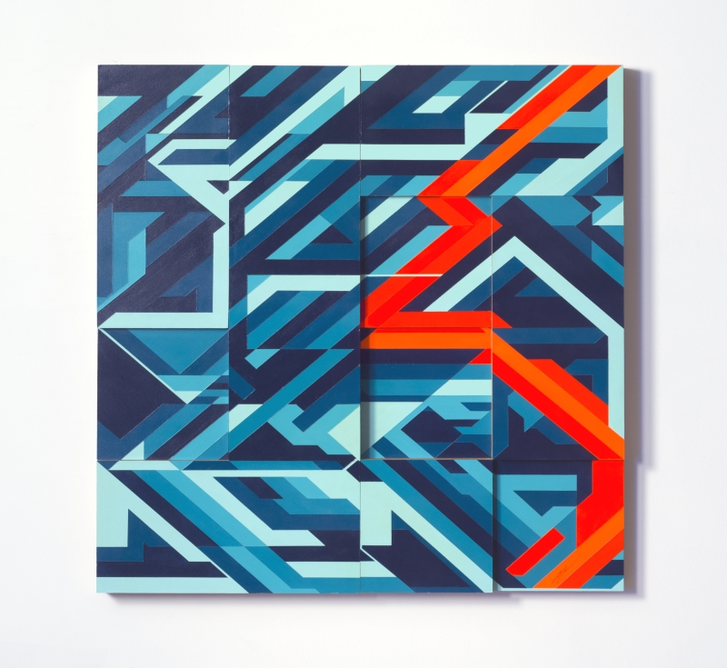 "Abstract Geometric Art 36"" x 36"", Acrylic on Wood, 2014"